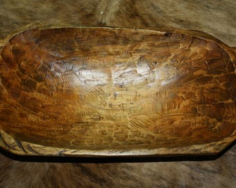 Carved Wooden Dough Bowl Primitive Wood Trencher Tray Rustic Home Decor 19 inch