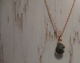 Rough Blue Diamond on a Sterling Silver 925 Necklace plated with pink gold ~ Conflict Free Diamond