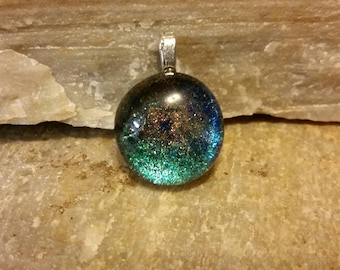 Painted sparkling glass pendant