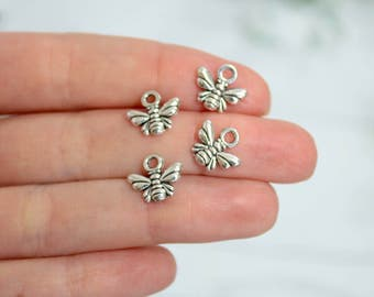 15 Bumble Bee Charms Antique Silver Tone 10*11mm