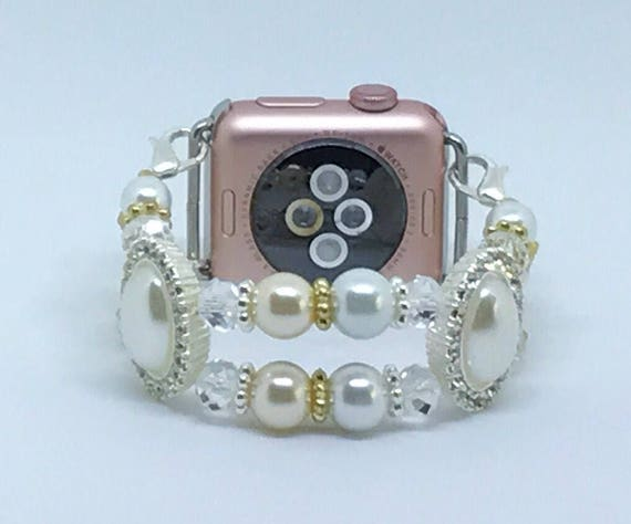 Apple Watch Band, Women Bead Bracelet Watch Band, iWatch Strap, Apple Watch 38mm, Apple Watch 42mm, Two Tone White Pearl Size 6 1/4 - 6 1/2""