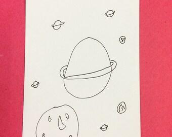 Spacetown hand drawn illustration