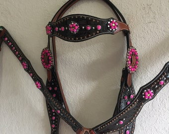 Alligator Print Leather headstall and breast collar set with pink rhinestone conchos & buckle Western Tack Set