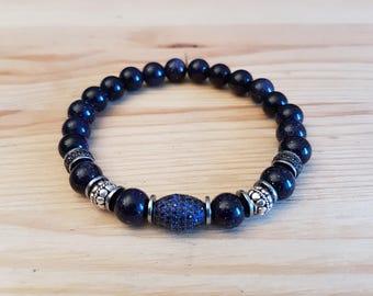 Unisex bracelet, Elegant-19, Goldstone Navy blue.
