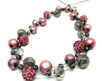 Rhinestone necklace pink grey silver braided dream in pink grey rhinestone Strass short necklace gorgeous delightful