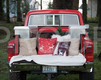Red Truck Christmas Digital Backdrop