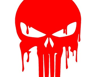 Dripping Punisher Skull Vinyl Decal Car Window Laptop Sticker