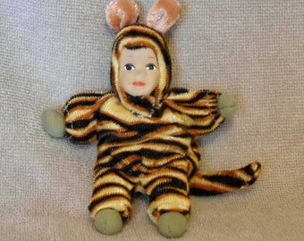 Vintage Doll with Porcelain Face in Tiger Suit  Free Shipping