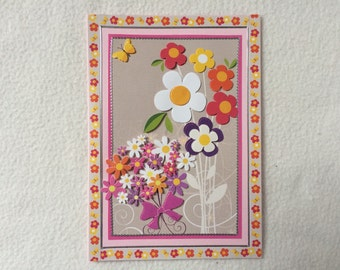 Handmade card without sending text in the 3-D design for birthday, thank you or a dear greeting