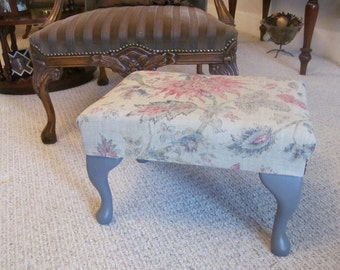 Footstool - medium size, finished in a beautiful heavy weight linen fabric