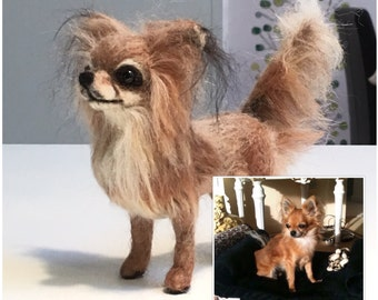 Needle Felt Dog, Pet Portrait Handmade in Felted Wool, Made To Order Chihuahua, Unique model made from your photo
