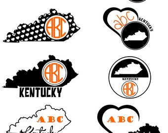Kentucky SVG State Monogram, Kentucky Cut File, Kentucky Monogram Frames, Kentucky Cricut file, Kentucky dxf,svg, dxf,ai,eps,png