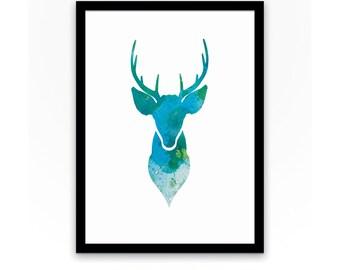 Deer, Stag, Digital Art, Print, Wall Art, Nursery, Bedroom, Animals, Silhouette, Animal, Design, watercolor