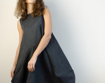 Gray Summer Long linen dress.