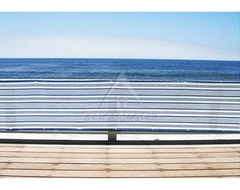 Custom Sized Mediterranean Privacy Screen - Beach, Balcony, Pool, Railing - Blue/White - 3ft Tall