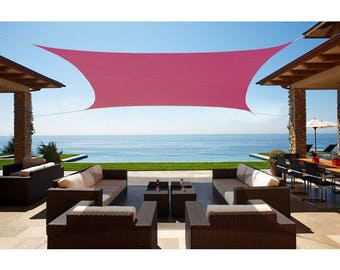 Custom Sized Square Waterproof Woven Sun Shade Sail in Vibrant Colors - Burgundy Red