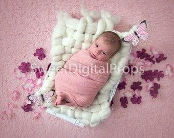 Digital Backdrops/Props (Newborn Basket - white) - Girl