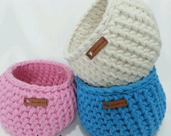 Set of 3 Crochet Baskets / handmade basket, tshirt yarn basket, crochet bowl, storage basket