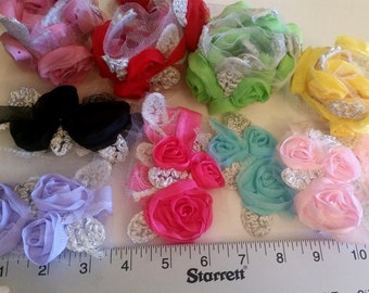 Flower and ribbon destash, 32 Organza Flower trim grab bag, pink organza trim, organza flowers, pink flowers, black flowers, Ribbon
