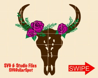 Bull Skull SVG - Cow Skull - Floral Western SVG - Cowgirl SVG - Silhouette File - Cut File