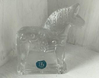 Small, handmade crystal glass dala horse from Lindshammar, Sweden