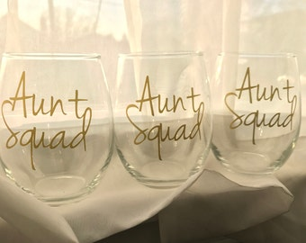 Aunt Squad * Personalized Stemless Wine Glass * gift for aunt * aunt wine glass * customized aunt glass