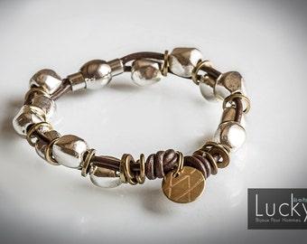 Vulcan mens bracelet - Leather, copper and silver Tibetan