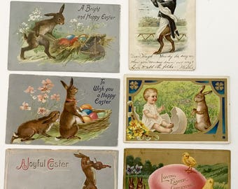 Antique Original LOT of 6 Embossed Easter postcards ephemera comics chicks eggs bunnies rabbits lamb children humanized rabbit