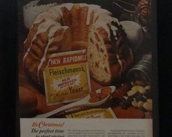 Fleischmann's Yeast, Vintage Ad, Kitchen Decor, Christmas, Fruit Cake