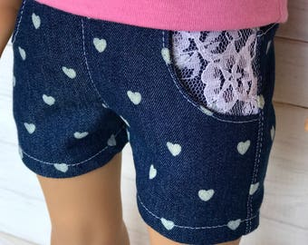 18 inch doll denim shorts with white hearts