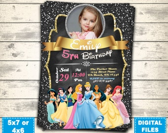 Disney princess invitation,disney princess birthday invite,disney princess party,cinderella ariel aurora belle anna elsa,printable princess