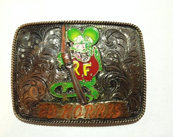 Rat Fink custom trophy buckle (personalized)