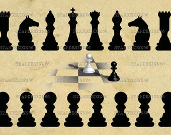 Digital SVG PNG JPG Chess set, clipart, vector, silhouette, instant download