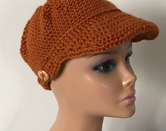 Crochet newsboy cap/hat. Rust.