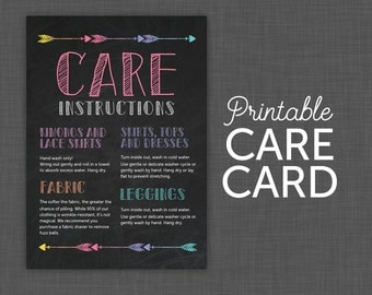 Care Instructions Etsy - Custom vinyl decal application instructionscare card printable care card instructions printable care