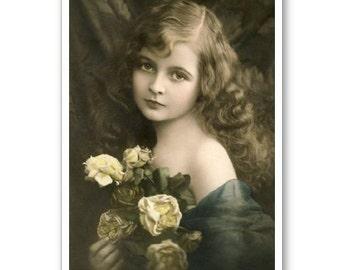 Personalised Handmade Greetings Card ~ Vintage Postcard of A Child  #24