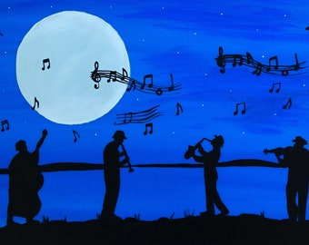 Silhouette musicians, musical notes, full moon landscape, original painting on 12x24 framed canvas, home decor, wall art, great gift idea