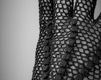 Retro Vintage Black Fishnet Crochet Prom / Party Gloves Size 7-8
