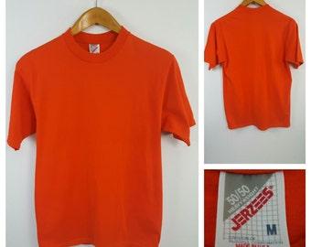 Vintage 80s 90s Jerzees Orange Blank T-Shirt Size M