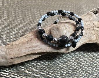 Black and Grey Memory Wire Bracelet