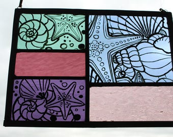 Painted, Leaded Stained glass. Purple, Blue and Green. Sea colours. Starfish, Shells. Seashore. Rock pool.