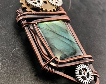 Steampunk Jewelry Wire wrapped labradorite pendants for men Crystal Necklaces for men Handmade gifts for boyfriend Homemade jewelry for men