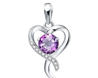 Sterling silver purple heart pendant charm for necklace