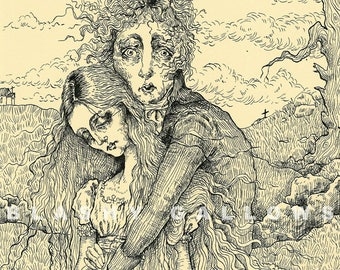 "Original Artwork Print ""The Lovers"" - 1800s - Romantic Illustration"