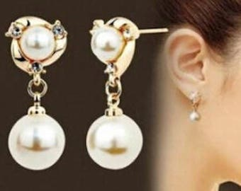 Bridal wedding gold plated pearl and rhinestone crystals earring