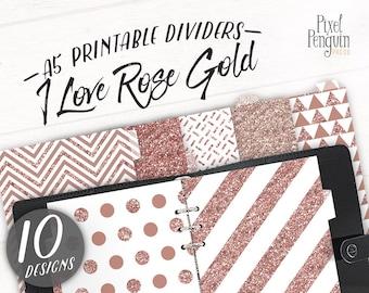 A5 Filofax Divider Printable, Rose Gold Glitter Tab, Binder Tab, Girly Planner Divider, Agenda Insert, Digital Paper, Dot Paper, Glamplanner
