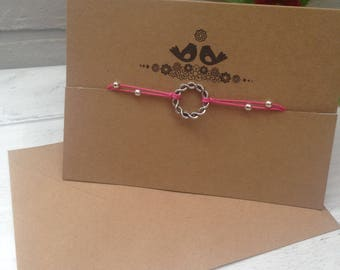 Wish Friendship Bracelet and Card and Envelope. Blank inside for your message.