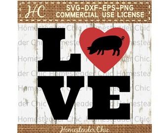 LOVE Heart SVG with Pig svg - pig svg-love svg-heart svg-farmhouse-pig decor-commercial use svg dxf eps png-valentine-pig valentine-hog svg