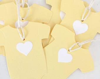 Gender Neutral Baby Shower Party Favor Tags, Baby Thank You Gift Tags, Baby Rompers, Yellow Baby Shower, Handmade Party Supplies