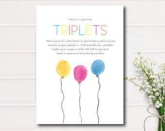 Triplets Baby Shower Invitation,Triplets Baby Shower Printable Invite, Triplets Invitation, Gender Reveal Baby Shower, Boy Girl  Baby Shower